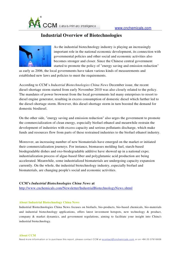 www.cnchemicals.com                  Industrial Overview of Biotechnologies                         As the industrial biot...