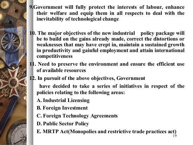 latest industrial policy