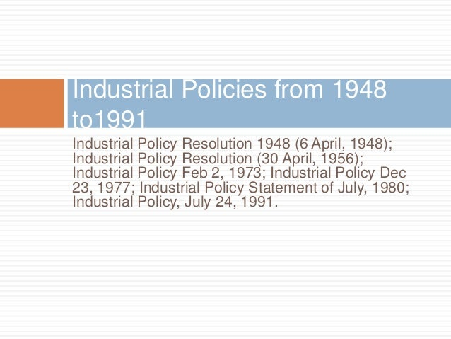 industrial policy resolution 1991