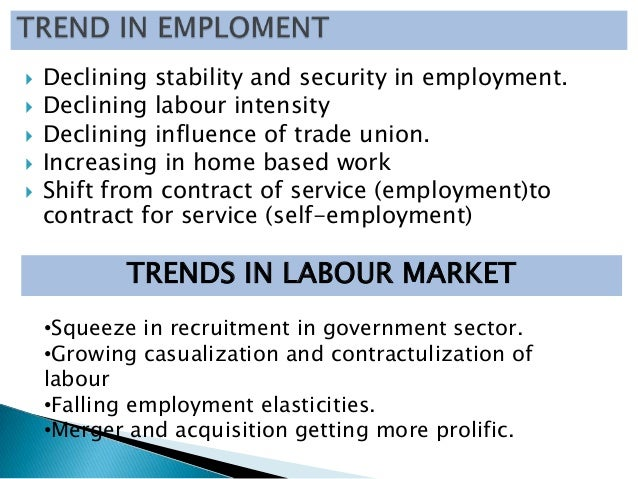    Declining stability and security in employment.   Declining labour intensity   Declining influence of trade union. ...