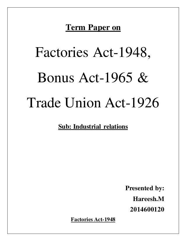 term paper on trade unions