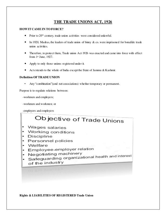 term paper on trade unions Trade union employees association constitutes one of the stakeholders in ir these associations are popularly known as trade union trade unions are not.