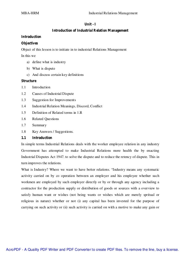 MBA-HRM                                          Industrial Relations Management                                          ...