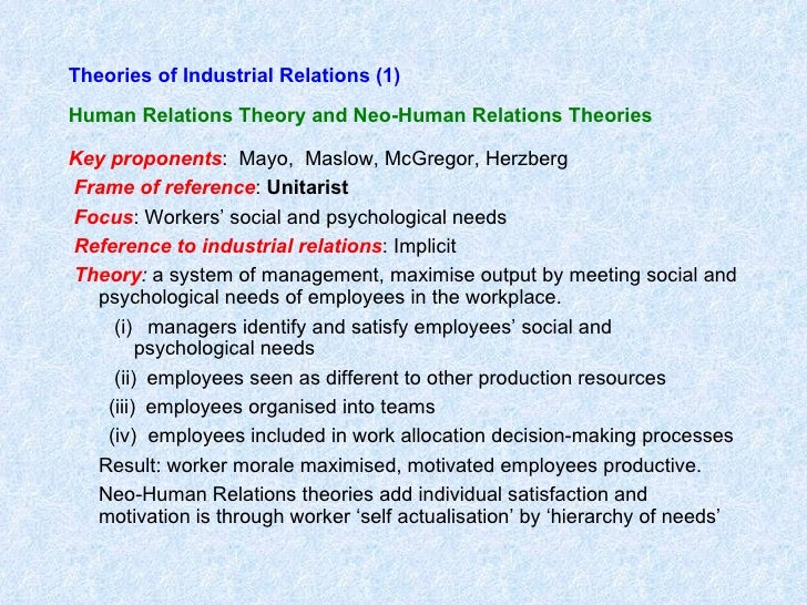 theories of industrial relations About this journal the journal of industrial relations is an isi-ranked, peer-reviewed international journal administered by the australian labour and employment.