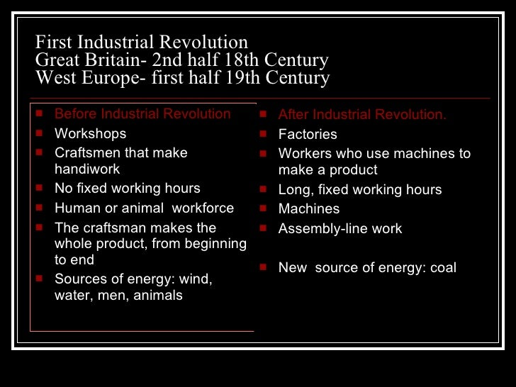 the similarities between the industrial revolution and technological revolution The industrial revolution gregory clark, university of california table 1: population and technological advance at the world level, 130,000 bc to 1800 year.