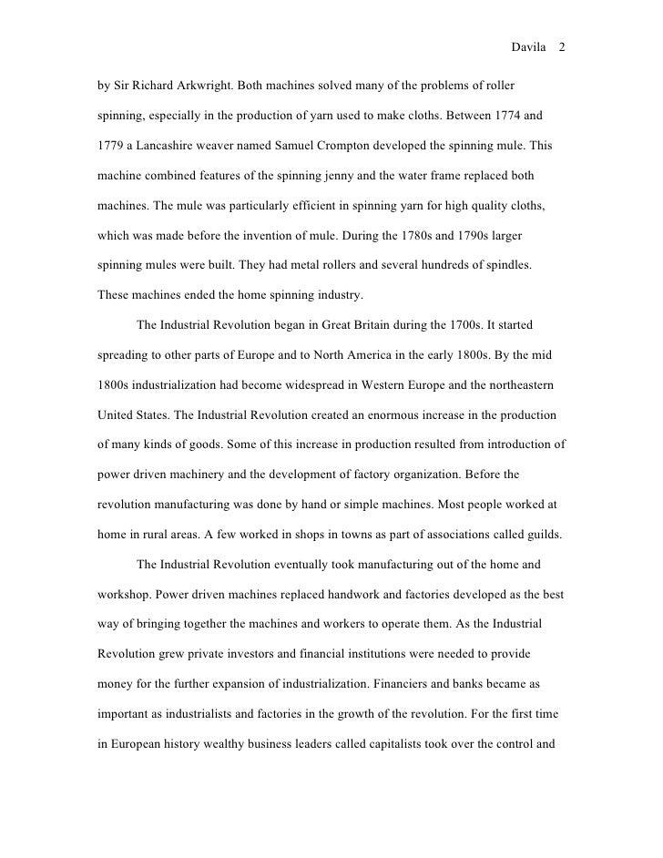 Essay on industrial revolution in england