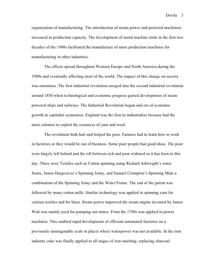 essay on the industrial revolution in england