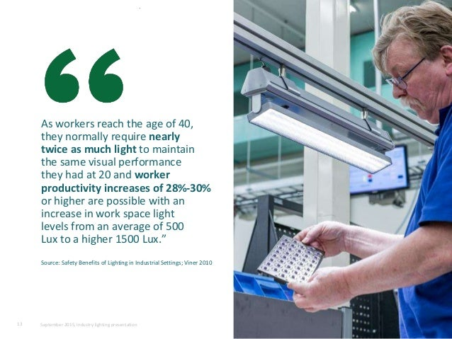 As workers reach the age of 40, they normally require nearly twice as much light to maintain the same visual performance t...