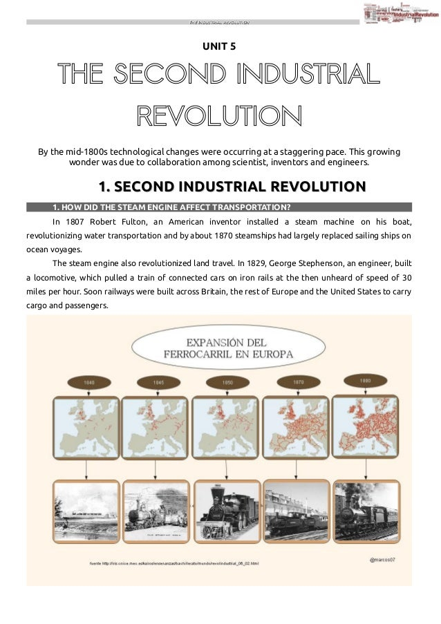 THE INDUSTRIAL REVOLUTION  UNIT 5  THE SECOND INDUSTRIAL REVOLUTION By the mid-1800s technological changes were occurring ...