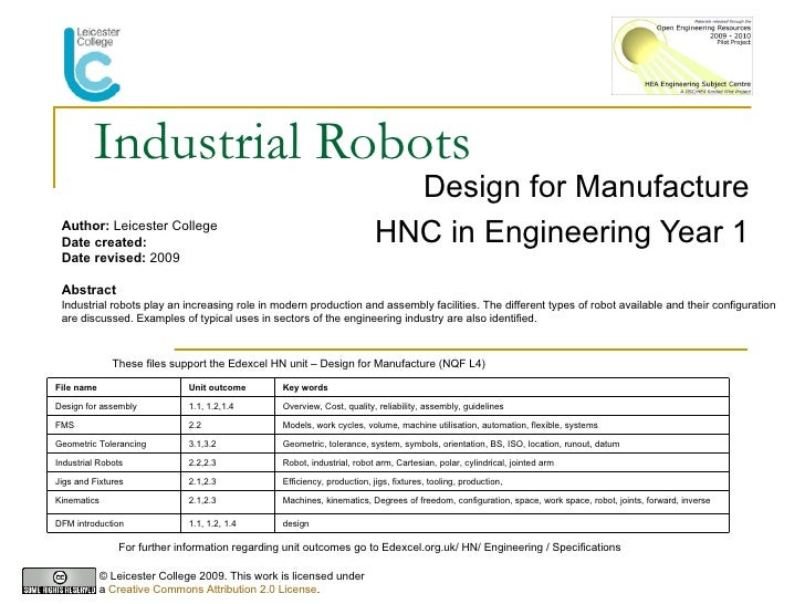 Industrial Robots Design for Manufacture HNC in Engineering Year 1 Author:  Leicester College Date created: Date revised: ...