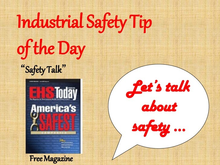 Safety Tip Of The Day >> Industrial Safety Tip Of The Day