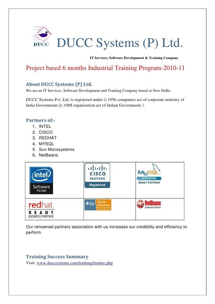 DUCC Systems (P) Ltd.                                      IT Services, Software Development & Training Company   Project ...