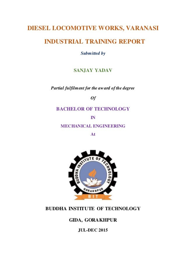 Cover Page On Industrial Training On Dlw