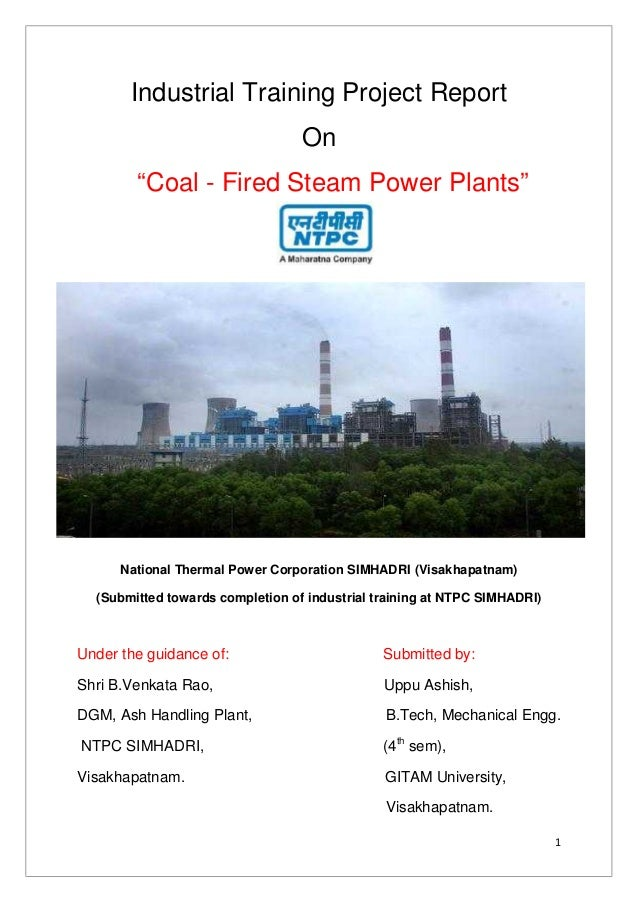 Project Report On Industrial Summer Training At Ntpc Simhadri