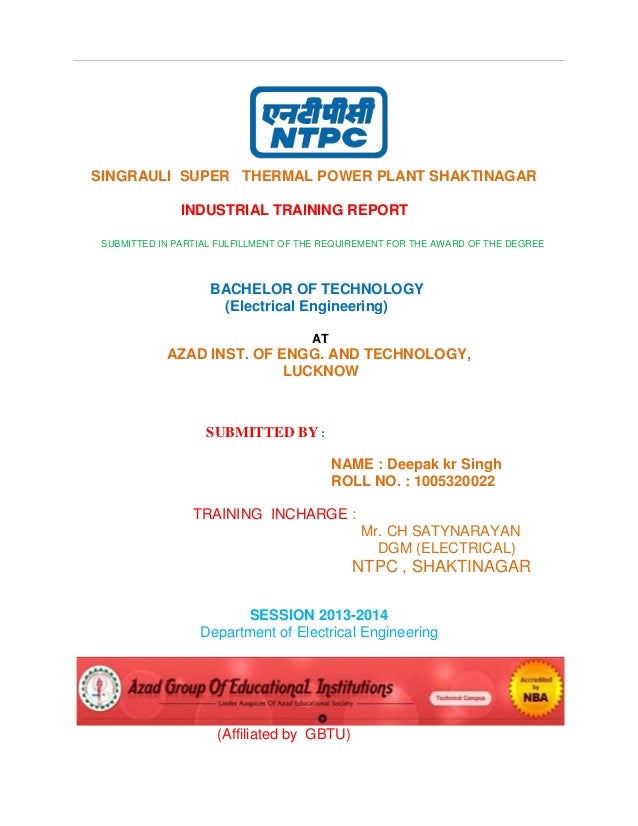 Industrial Training Report Of Ntpc