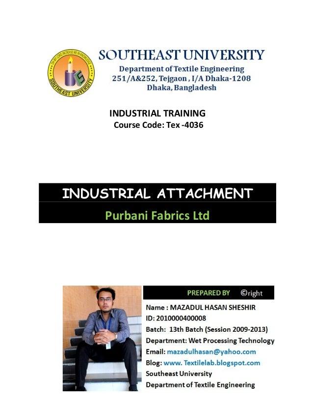 Industrial training report at purbani fabrics limited
