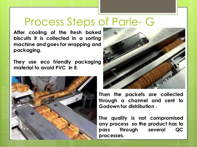 Process Steps of Parle- G After cooling of the fresh baked biscuits it is collected in a sorting machine and goes for wrap...