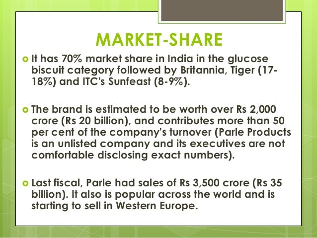 MARKET-SHARE  It has 70% market share in India in the glucose biscuit category followed by Britannia, Tiger (17- 18%) and...