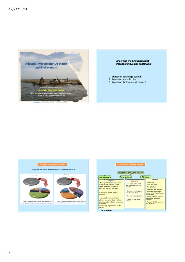 ٢٠/٠٣/١٤٣٥  Analyzing the Environmental impact of industrial wastewater  Industrial Wastewater Discharge and Environment  ...