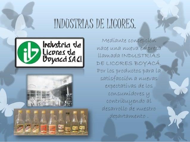 INDUSTRIAS DE LICORES. Mediante concepción nace una nueva empresa llamada INDUSTRIAS DE LICORES BOYACÁ. Por los productos ...