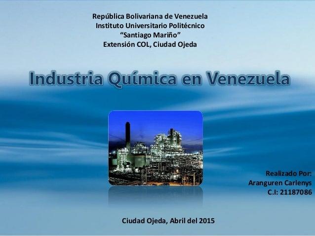 """República Bolivariana de Venezuela Instituto Universitario Politécnico """"Santiago Mariño"""" Extensión COL, Ciudad Ojeda Reali..."""