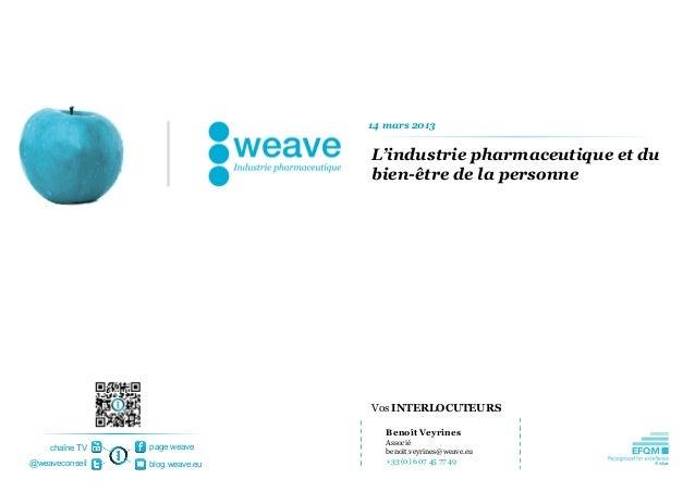 14 mars 2013                                L'industrie pharmaceutique et du                                bien-être de l...