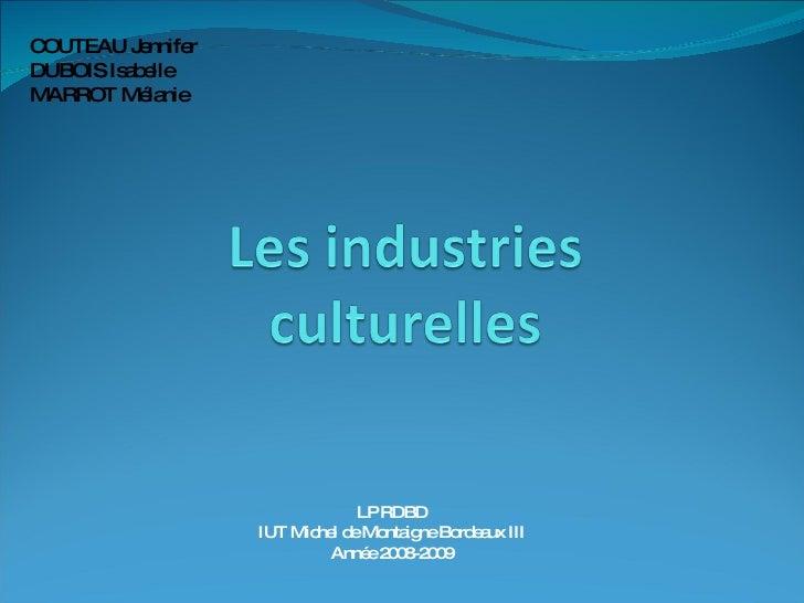 LP RDBD IUT Michel de Montaigne Bordeaux III Année 2008-2009 COUTEAU Jennifer DUBOIS Isabelle MARROT Mélanie