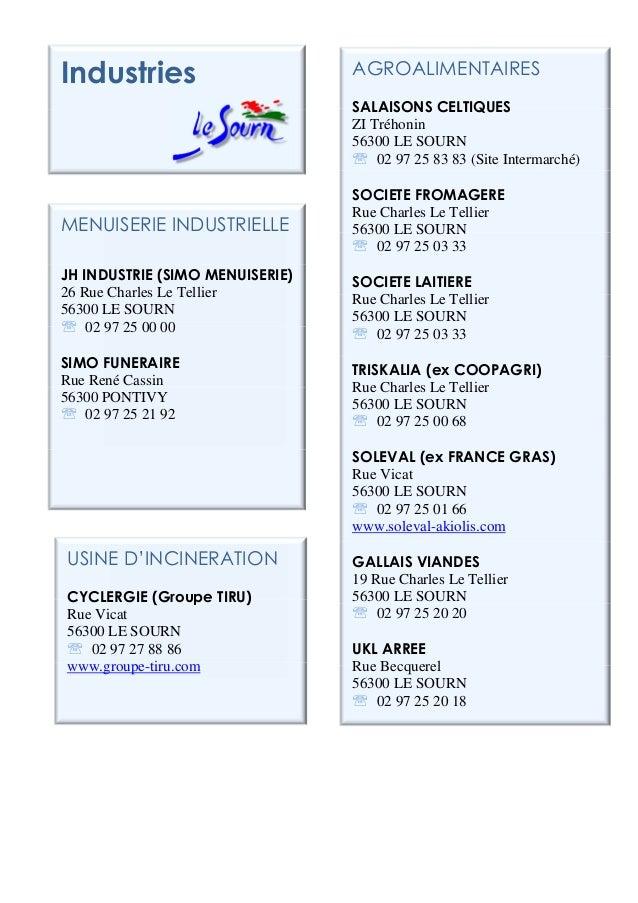 AGROALIMENTAIRESSALAISONS CELTIQUESZI Tréhonin56300 LE SOURN℡ 02 97 25 83 83 (Site Intermarché)SOCIETE FROMAGERERue Charle...