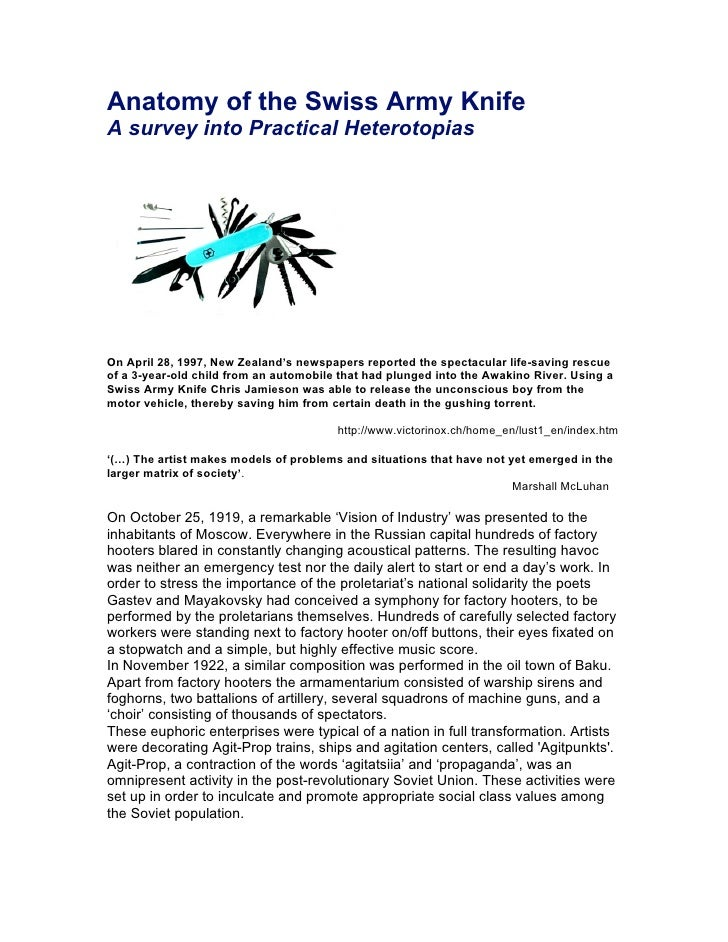 Anatomy of the Swiss Army Knife A survey into Practical Heterotopias     On April 28, 1997, New Zealand's newspapers repor...