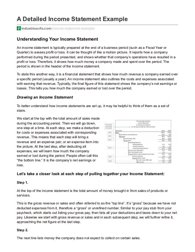 A Detailed Income Statement Example Industriuscfo.com/income Statement  Example/ Understanding ...