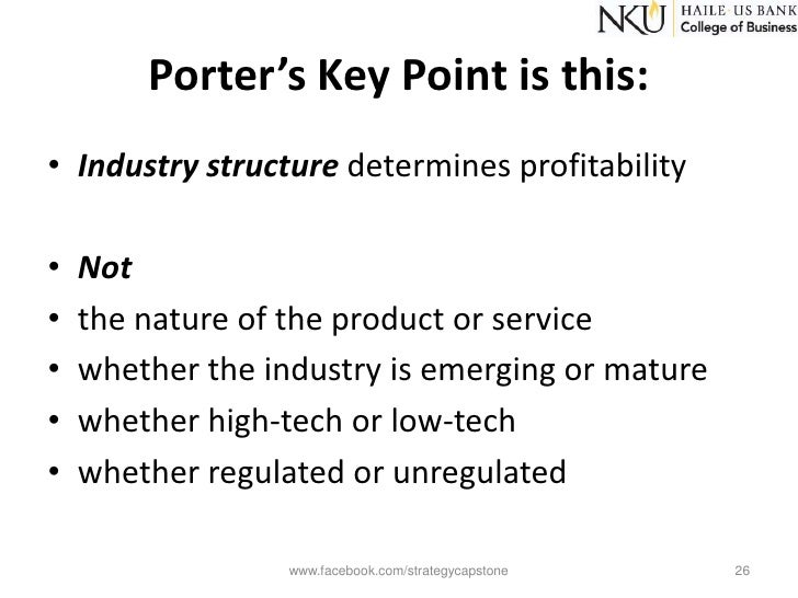 a brief summary of the five forces by porter in techniques for analyzing industries and competitors An industry analysis consists of three major elements: the underlying forces at  work in  competitive strategy: techniques for analyzing industries and  competitors porter's model shows that rivalry among firms in industry depends  upon five forces: 1)  some examples of possible success factors include quick  response to.