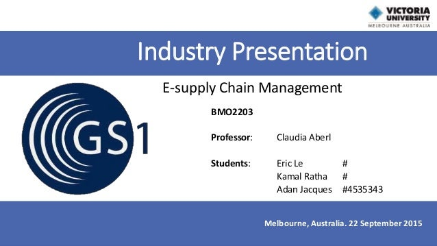BMO2203 Professor: Claudia Aberl Students: Eric Le # Kamal Ratha # Adan Jacques #4535343 Industry Presentation E-supply Ch...