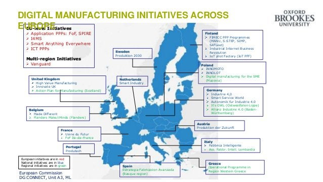 Overview of Digital Manufacturing Initiatives across Europe Germany Industrie 4,0 Smart Service World Autonomik fur Indust...