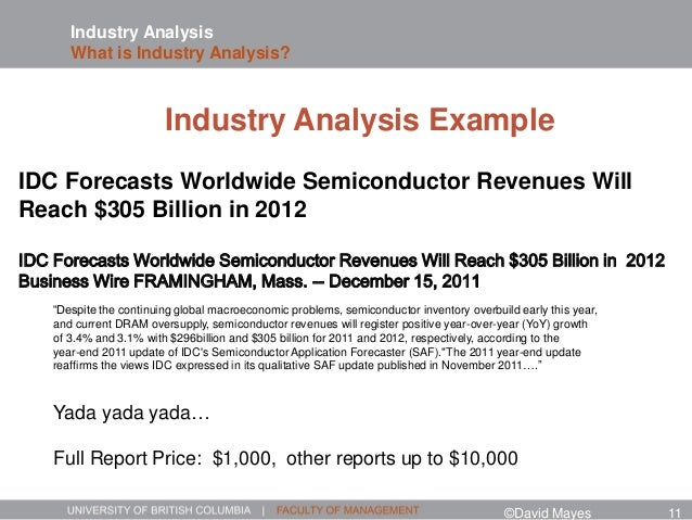 Industry Analysis What is Industry Analysis? IDC Forecasts Worldwide Semiconductor Revenues Will Reach $305 Billion in 201...