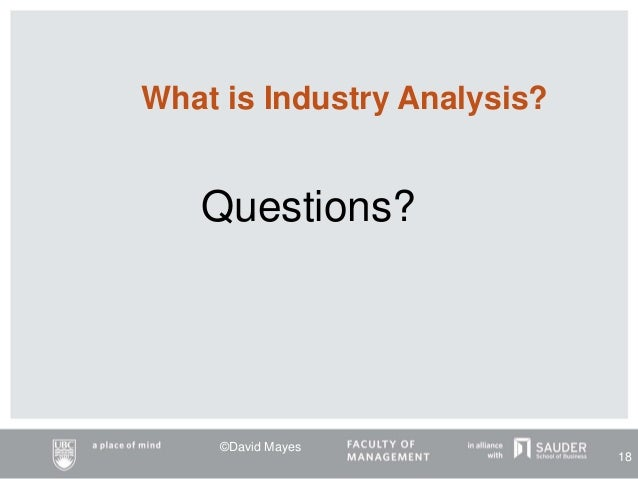 Questions? What is Industry Analysis? ©David Mayes 18