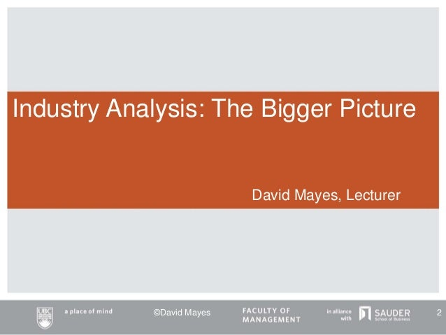 Industry Analysis: The Bigger Picture David Mayes, Lecturer ©David Mayes 2