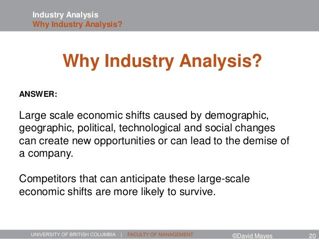 Industry Analysis Why Industry Analysis? ANSWER: Large scale economic shifts caused by demographic, geographic, political,...