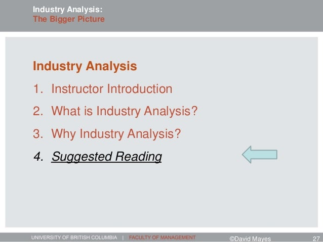 Industry Analysis 1. Instructor Introduction 2. What is Industry Analysis? 3. Why Industry Analysis? 4. Suggested Reading ...
