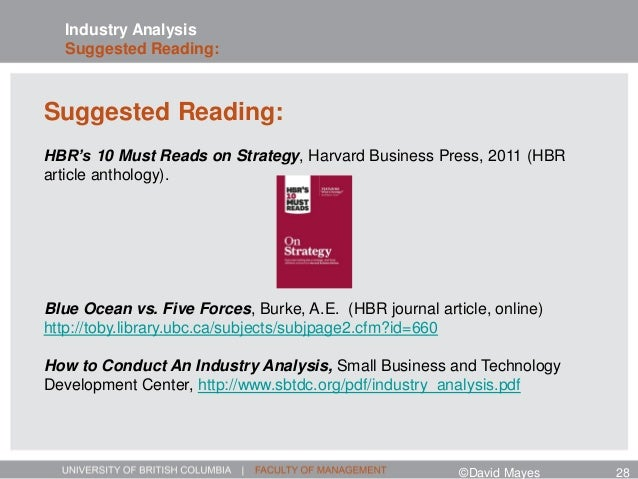 Industry Analysis Suggested Reading: Suggested Reading: HBR's 10 Must Reads on Strategy, Harvard Business Press, 2011 (HBR...