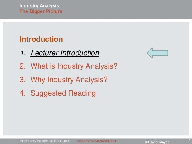 Introduction 1. Lecturer Introduction 2. What is Industry Analysis? 3. Why Industry Analysis? 4. Suggested Reading Industr...