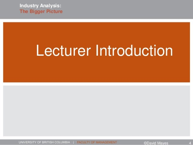 Lecturer Introduction ©David Mayes 4 Industry Analysis: The Bigger Picture