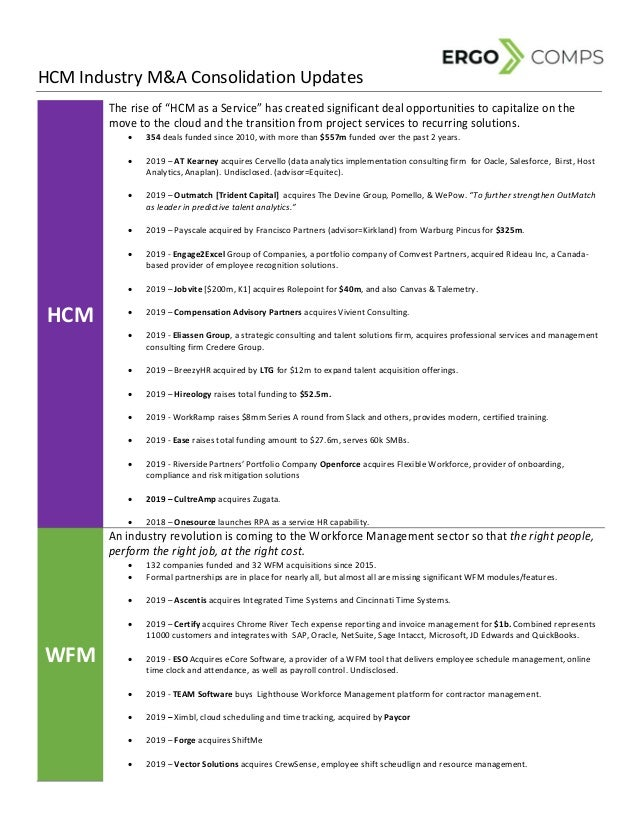 "HCM Industry M&A Consolidation Updates  HCM   The rise of ""HCM as a Service"" has created significant deal opportunitie..."