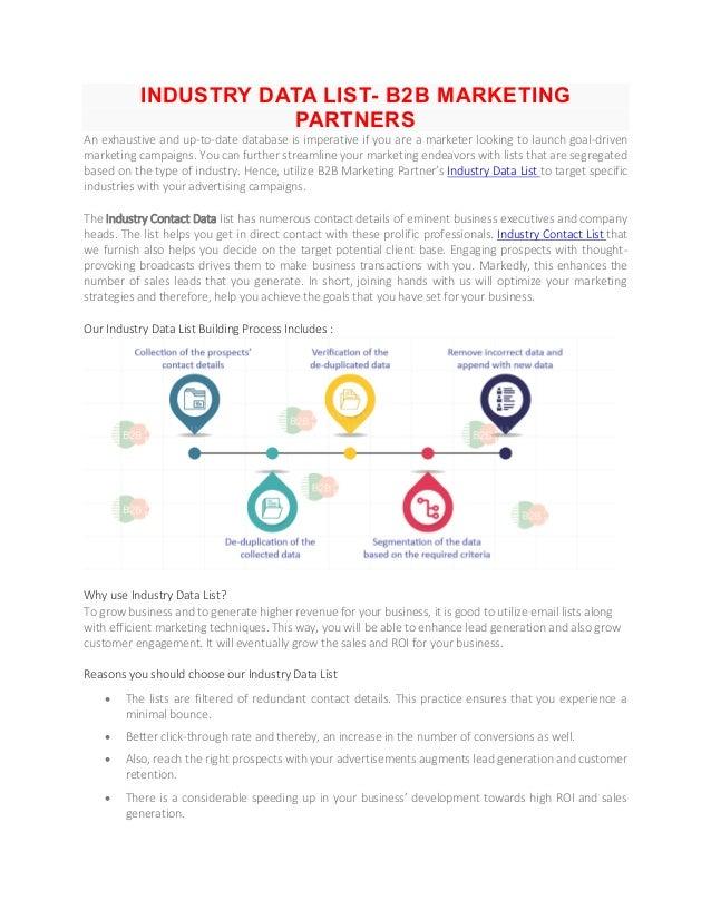 Industry data list b2 b marketing partners