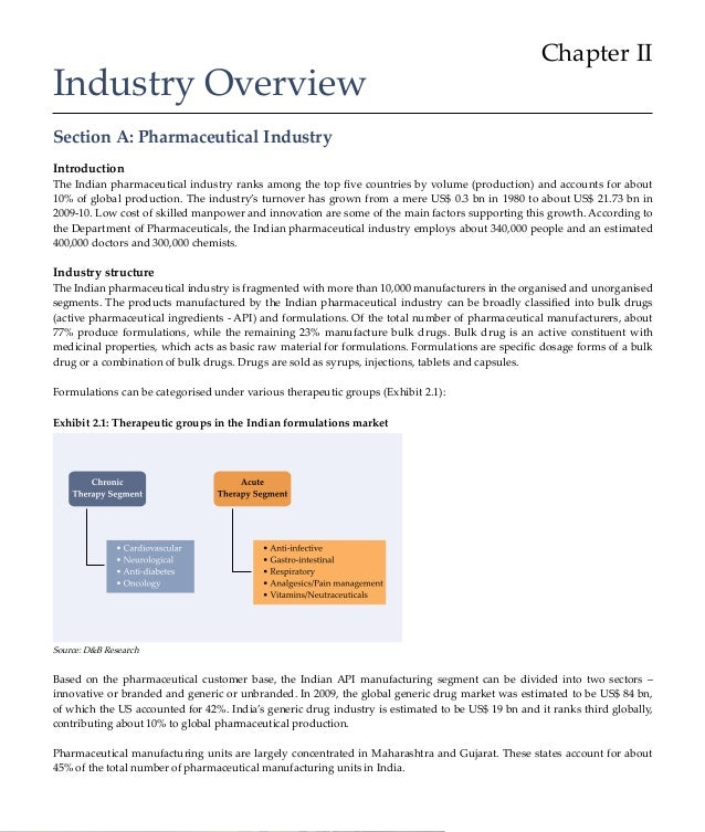 Chapter IIIndustry OverviewSection A: Pharmaceutical IndustryIntroductionThe Indian pharmaceutical industry ranks among th...