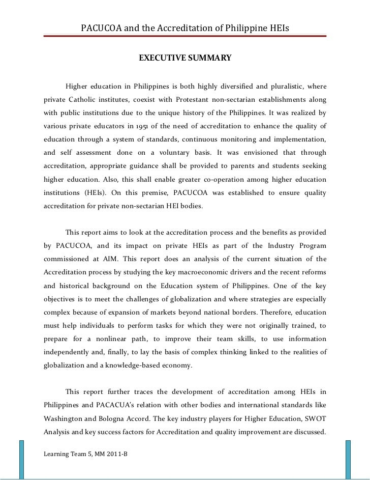 PACUCOA and the Accreditation of Philippine HEIs                              EXECUTIVE SUMMARY       Higher education in ...