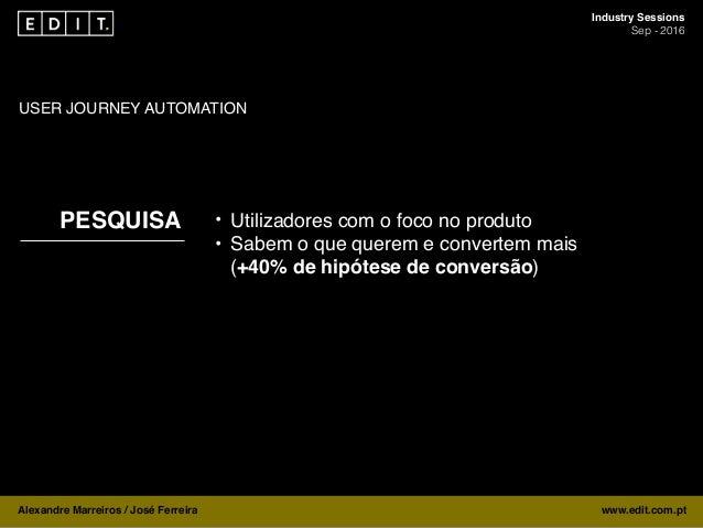 Industry Sessions Sep - 2016 Alexandre Marreiros / José Ferreira www.edit.com.pt PESQUISA USER JOURNEY AUTOMATION • Utiliz...