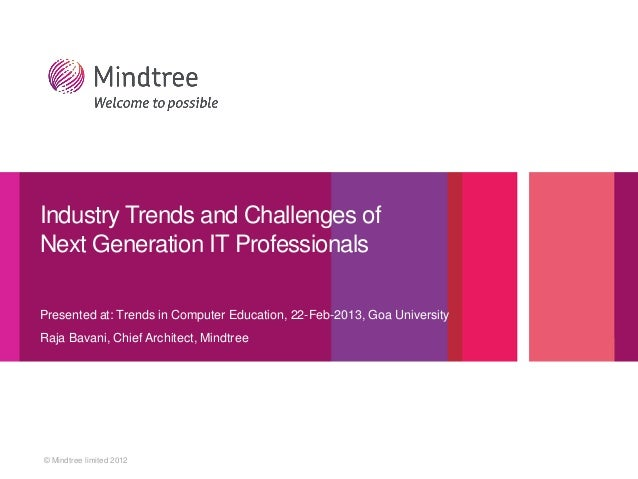 © Mindtree limited 2012 Presented at: Trends in Computer Education, 22-Feb-2013, Goa University Raja Bavani, Chief Archite...
