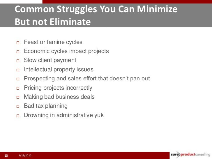 Common Struggles You Can Minimize     But not Eliminate        Feast or famine cycles        Economic cycles impact proj...