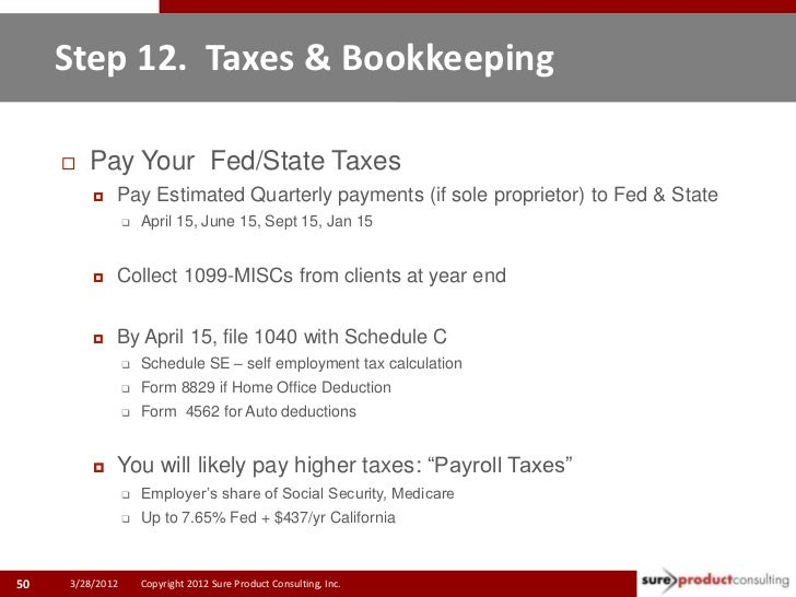 Step 12. Taxes & Bookkeeping        Pay Your Fed/State Taxes            Pay Estimated Quarterly payments (if sole propri...