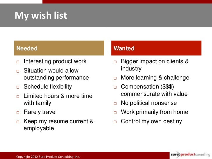My wish listNeeded                                         Wanted    Interesting product work                     Bigger...